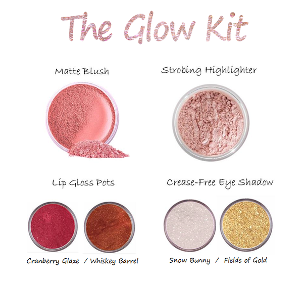 how to get glowing skin natural makeup looks mattify cosmetics highlighter kit sparkly eye shadow matte blush natural products for oily skin
