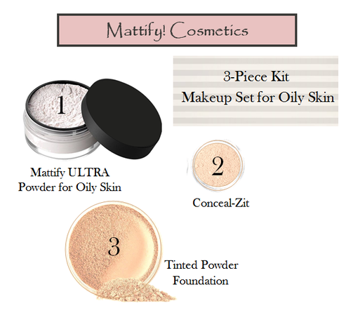 products for oily skin by mattify cosmetics all natural foundation for acne prone skin ultra matte powder primer plus concealer full makeup kit