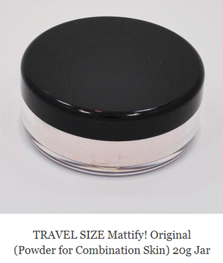 travel size products miniature makeup Mattify cosmetics original matte invisible oil control powder for oily skin and combination skin to prevent acne blackheads and get clear skin no makeup look