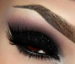 Sparkly black eyeshadow look new smoky eye purple cut crease sexy holiday makeup looks for winter shiny wet look long lasting eyeshadow Mattify cosmetics natural mineral eye makeup look for a holiday party NYE