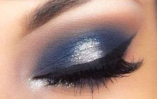 Navy blue smoky eye look Mattify cosmetics long lasting eyeshadow for oily eye lids with built in primer for crease-free wear sparkly white eye shadow for inner corners of eyes and under brow bone how to make eyes look deep set and sexy