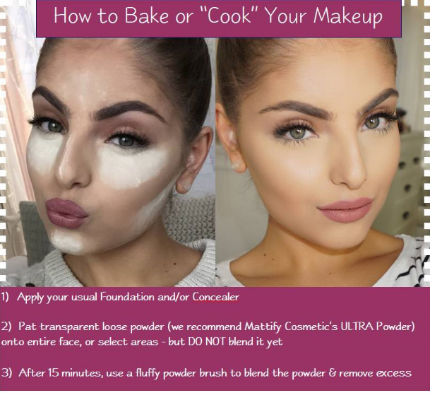 Instructions on how to bake your makeup using matte face powder for oily skin by Mattify cosmetics makeup for acne prone skin how to cook your makeup to get long lasting foundation all day without looking cakey or shiny using oil absorbent matte powder and primer